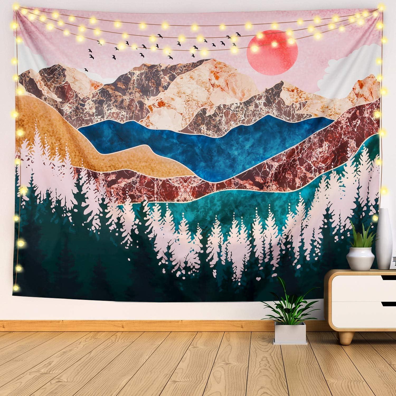 Tapestry Wall Hanging Bedding Tapestry Mountain Tapestry Forest Tree Tapestry Sunset Tapestry Home Decor for Bedroom Living Room Dorm