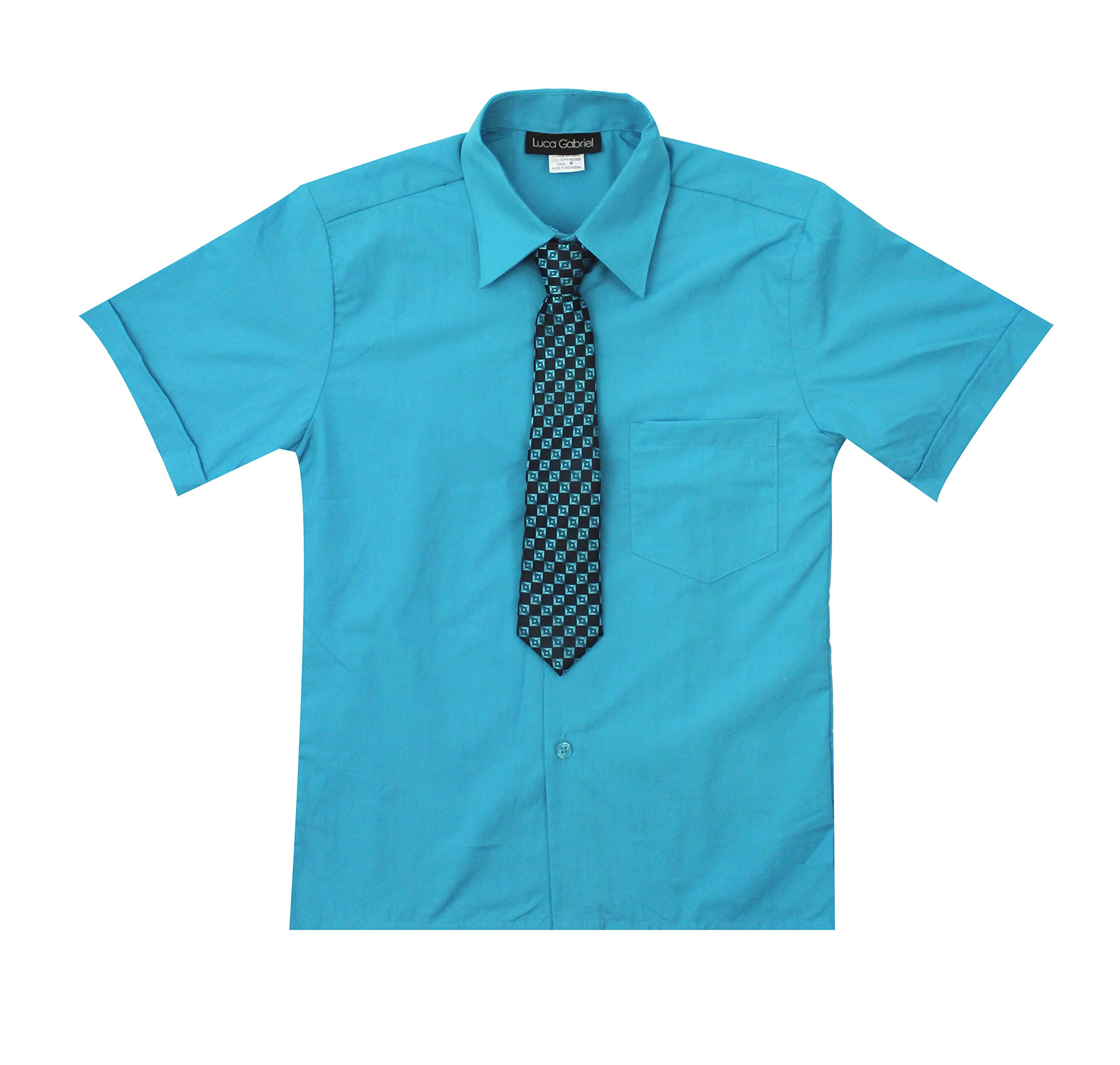 Luca Gabriel Toddler Boy's Short Sleeve Formal Button Down Dress Shirt & Tie Set - Turquoise Size 8