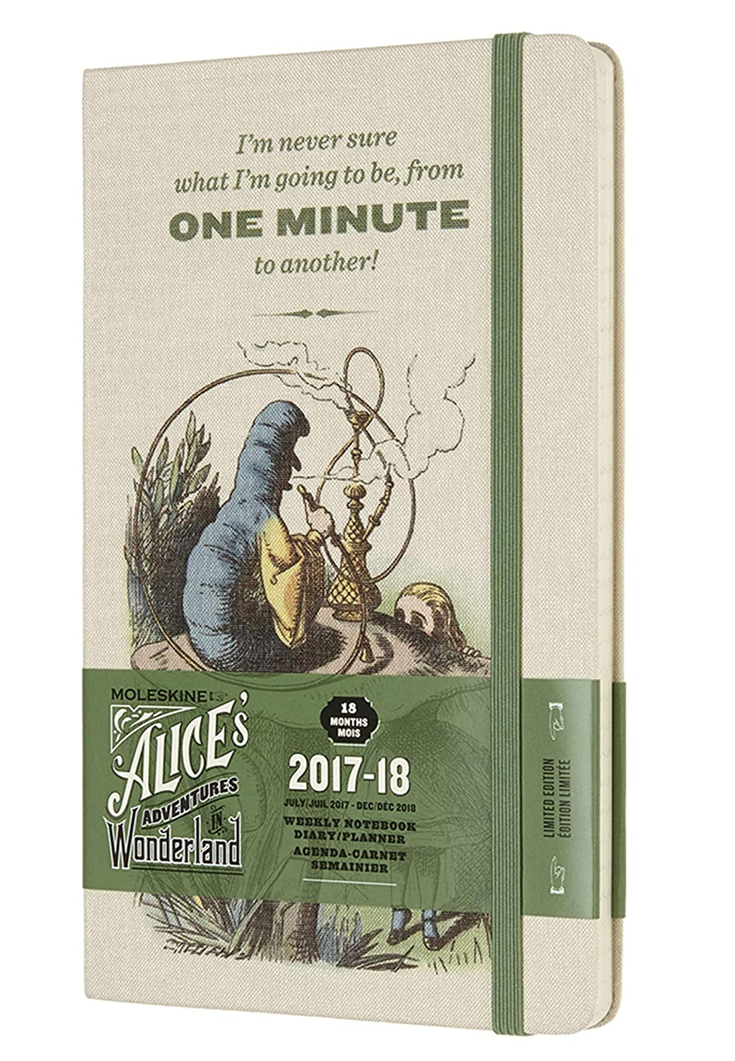 Moleskine Limited Edition Alice in Wonderland 18 Month 2017-2018 Weekly Planner, Hard Cover, Large (5