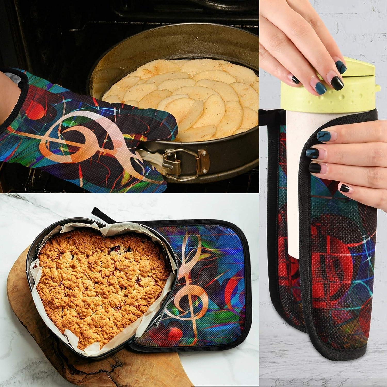 TropicalLife RELEESSS cocina resistentes al calor horneado cocina guantes para el hogar cocina notas musicales Juego de guantes para horno y soporte para ollas
