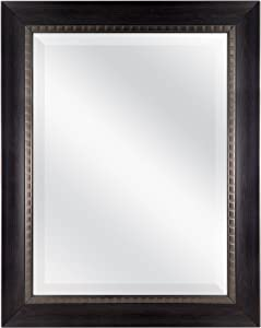 MCS 18x24 Inch Sloped Mirror with Dental Molding Detail, 23.5x29.5 Inch Overall Size, Walnut (20567)