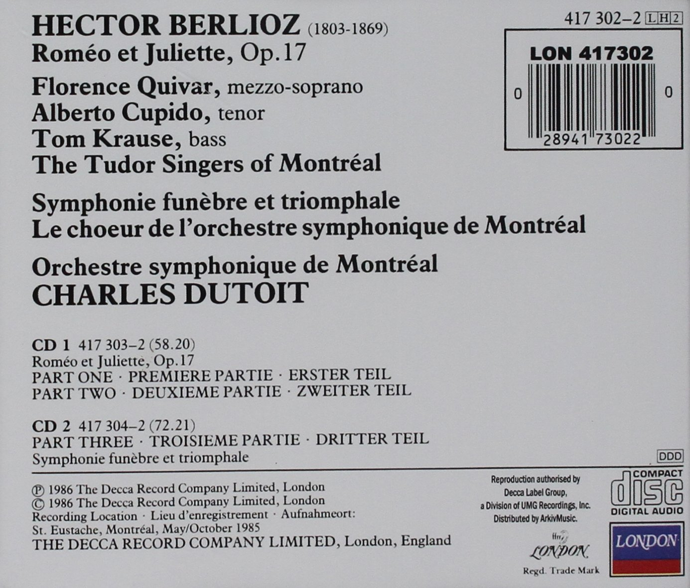 Berlioz Dutoit Montreal Symphony Orchestra Berlioz Romeo  # Meubles De Tele Berlioz