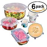 Aide Cuisine Easy Seal Flex 'n' Fresh–Juego de utensilios de cocina de extensibles de silicona tapa, reutilizables Film y cierre para cuencos, 6unidades