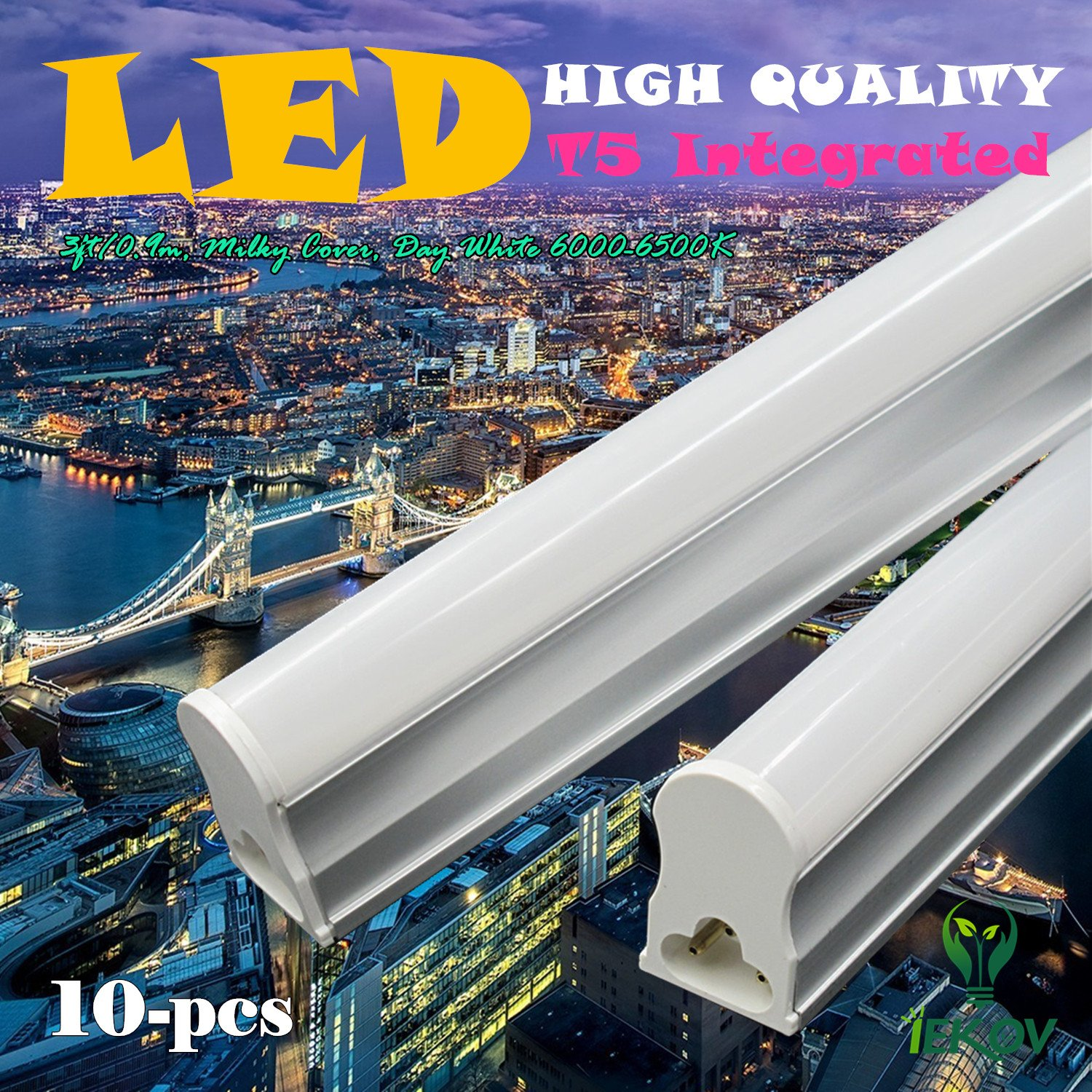 IEKOV 10-Pack of trade; 14w Integrated T5 LED Tube Light Fixture, Replace of 36W Fluorescent Tube, Plug & Play, CE & RoHS qualified (3ft/0.9m, Day White 6000-6500K, Milky Cover)