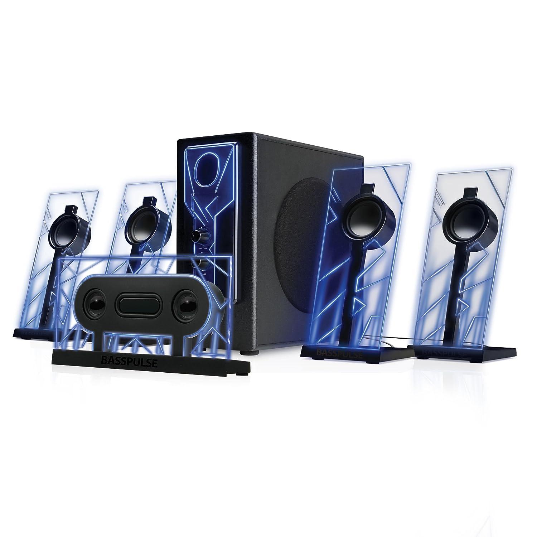 GOgroove BassPULSE 5.1 Surround Sound Computer Lautsprecher mit Powered Subwoofer, 80 Watt und Blue LED Glow Lights Arbeitet mit Desktop, Laptop, PC und Mehr Multimedia Devices Accessory Power GGBP510100BKEU
