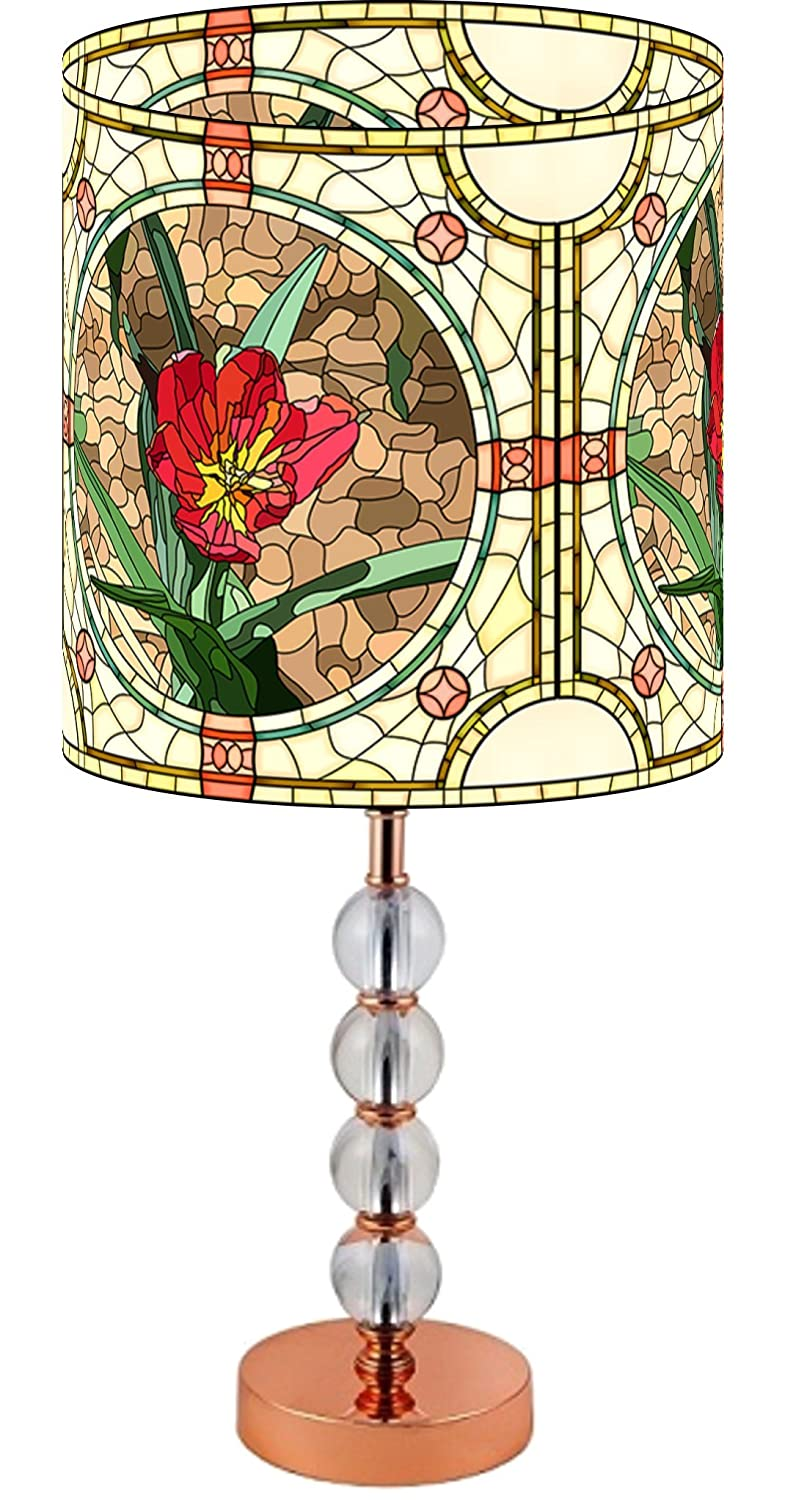 Amazon lamppix 225 inch custom printed table desk lamp shade amazon lamppix 225 inch custom printed table desk lamp shade stained glass style red flower includes decorative acrylic round stand home kitchen mozeypictures Choice Image