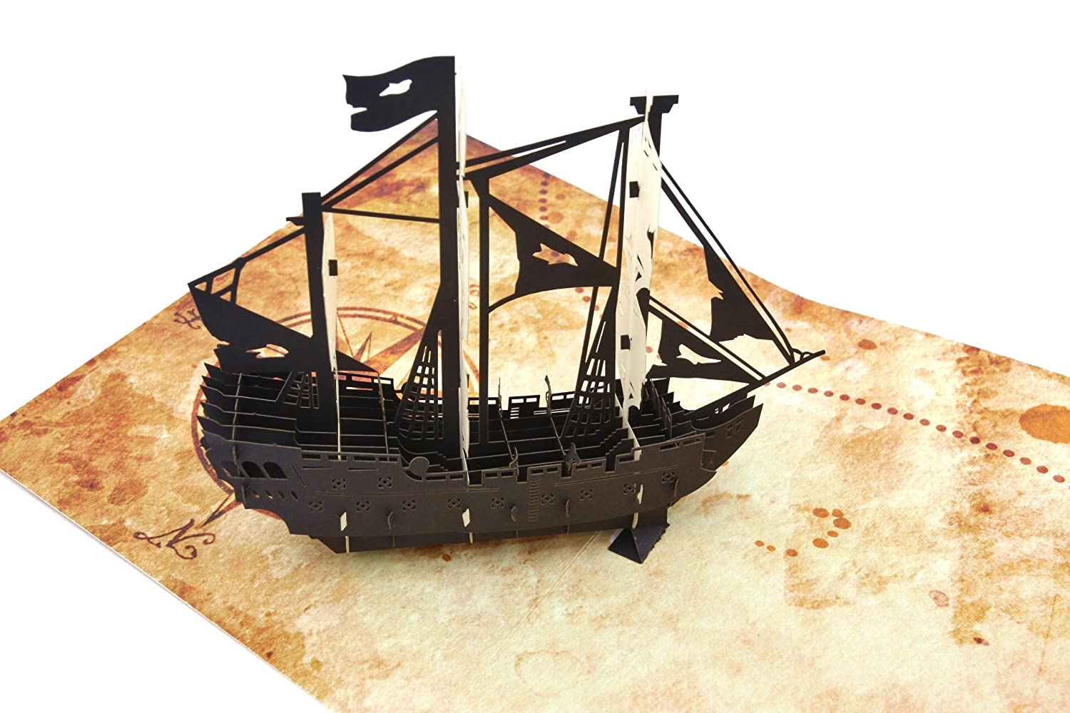 PopLife Pirate Ship & Treasure Map Pop Up Card for All Occasions - Happy Birthday, Graduation, Congratulations, Retirement, Fathers Day - Treasure Hunters, Ocean Lovers - Folds Flat for Mailing