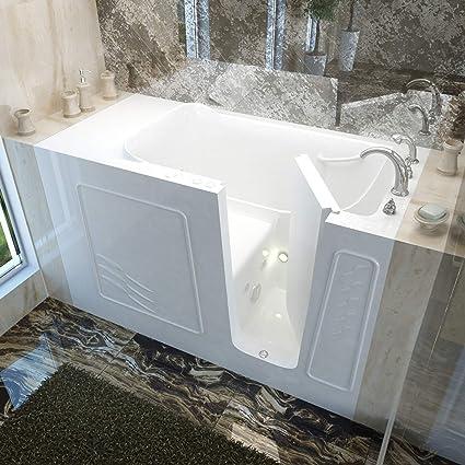 Meditub 3060wirwh 3060 Series Rectangular Whirlpool Walk In Bathtub, 30 X 60,  Right Drain, White   Whirlpool Bathtubs   Amazon.com