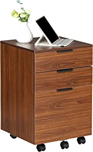 JJS 3 Drawer Rolling Wood File Cabinet with Locking Wheels, Home Office Portable Vertical Mobile Wooden Storage Filing Cabinet for A4 or Letter Size, All Brown