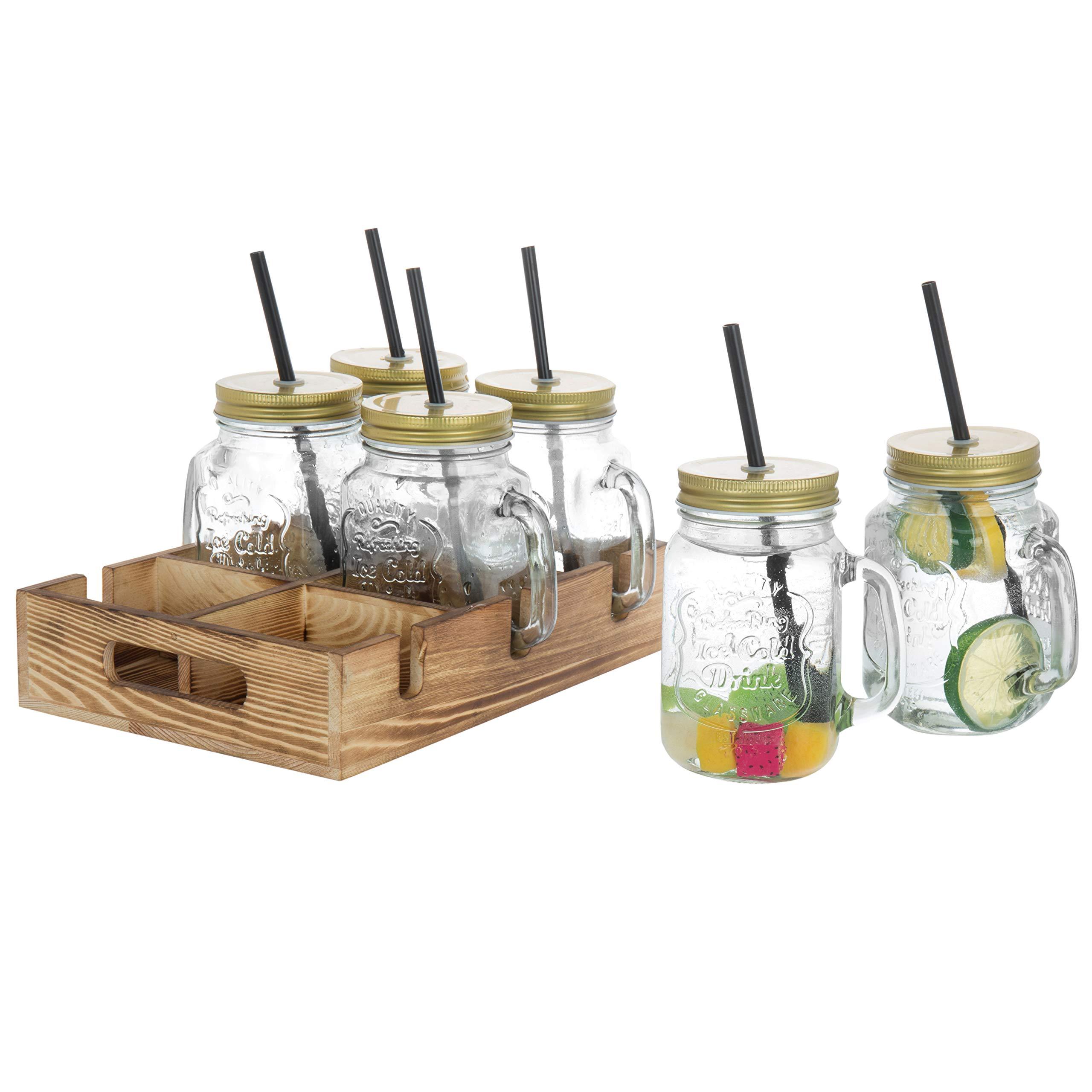 MyGift Mason Jar Mug Glasses with Lids, Straws & Wood Caddy, Brown, Set of 6