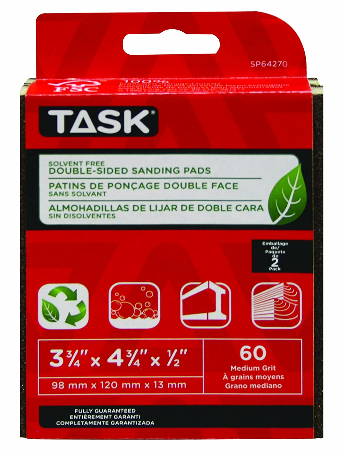 60 Grit 2-Pack LCM Team Task Tools SP64270 Solvent-Free ECO Double-Sided Sanding Pads Task Tools
