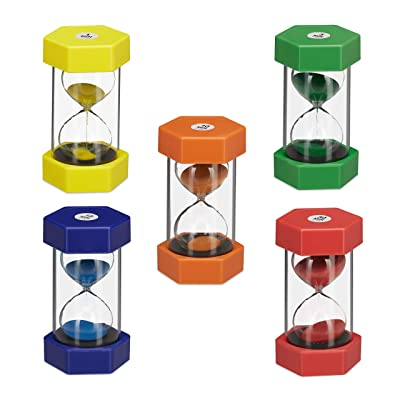 Relaxdays XXL Set of 5 Hourglasses, Sandglass for Children,1/5/10/15/30 Minutes, Break-Proof, Colourful: Toys & Games
