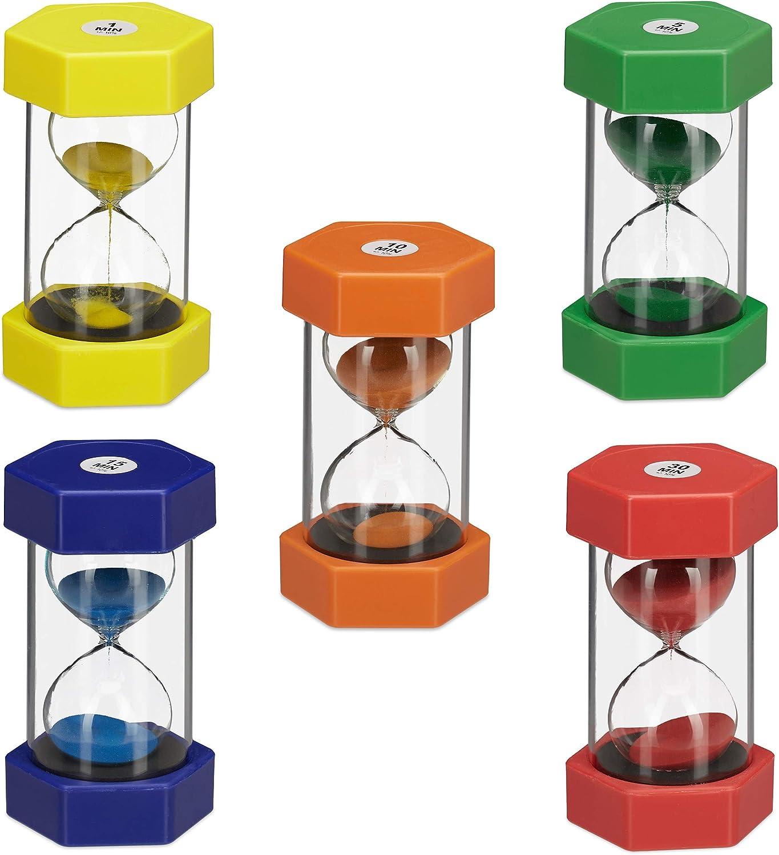 relaxdays- Set de cinco relojes de arena, Color (10024319) , color/modelo surtido
