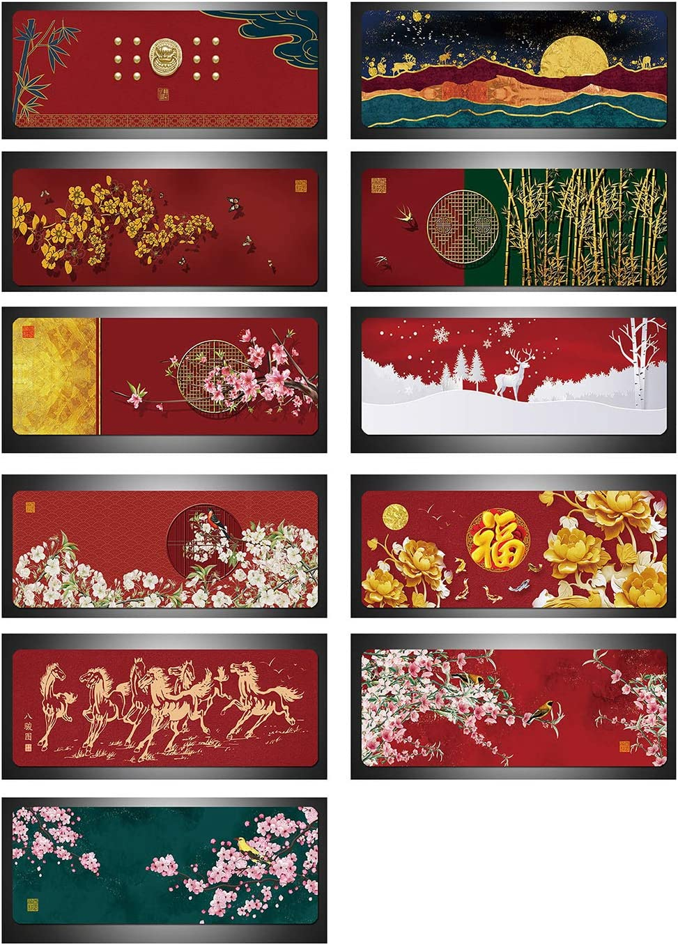 Liveinu Large Office Desk Pad Mouse Pad,Chinese Classical Style,Non-Slip Waterproof Mouse Mat Desk Blotter Protector 3mm 55.1 x 27.6