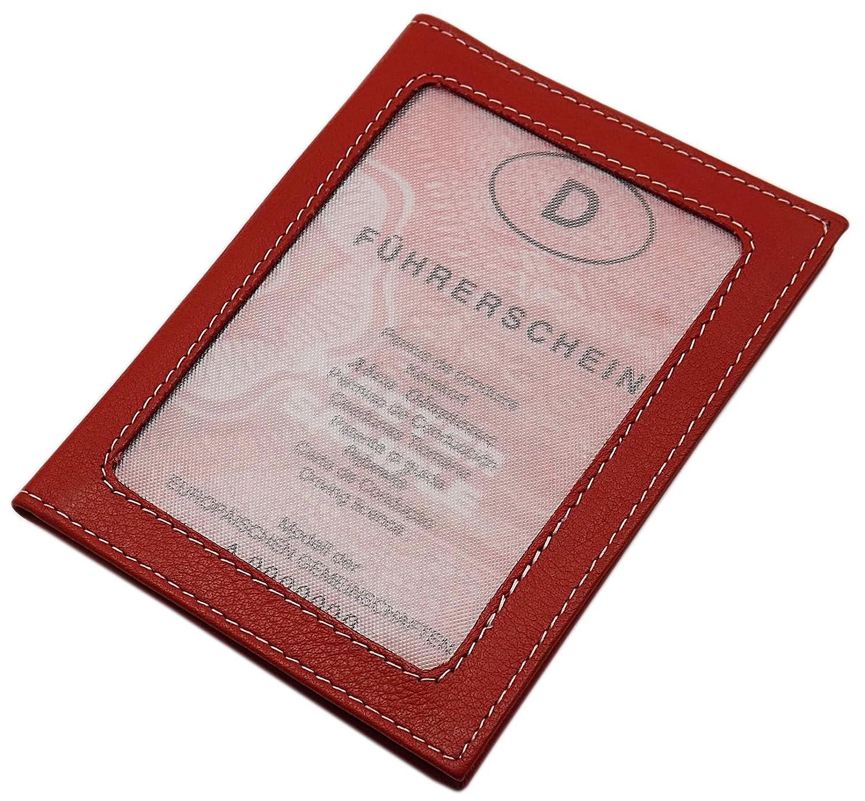 Marron Cuir de buffle pochette de carte didentit/é et porte carte de cr/édit MJ-Design-Germany en 3 diff/érentes couleurs