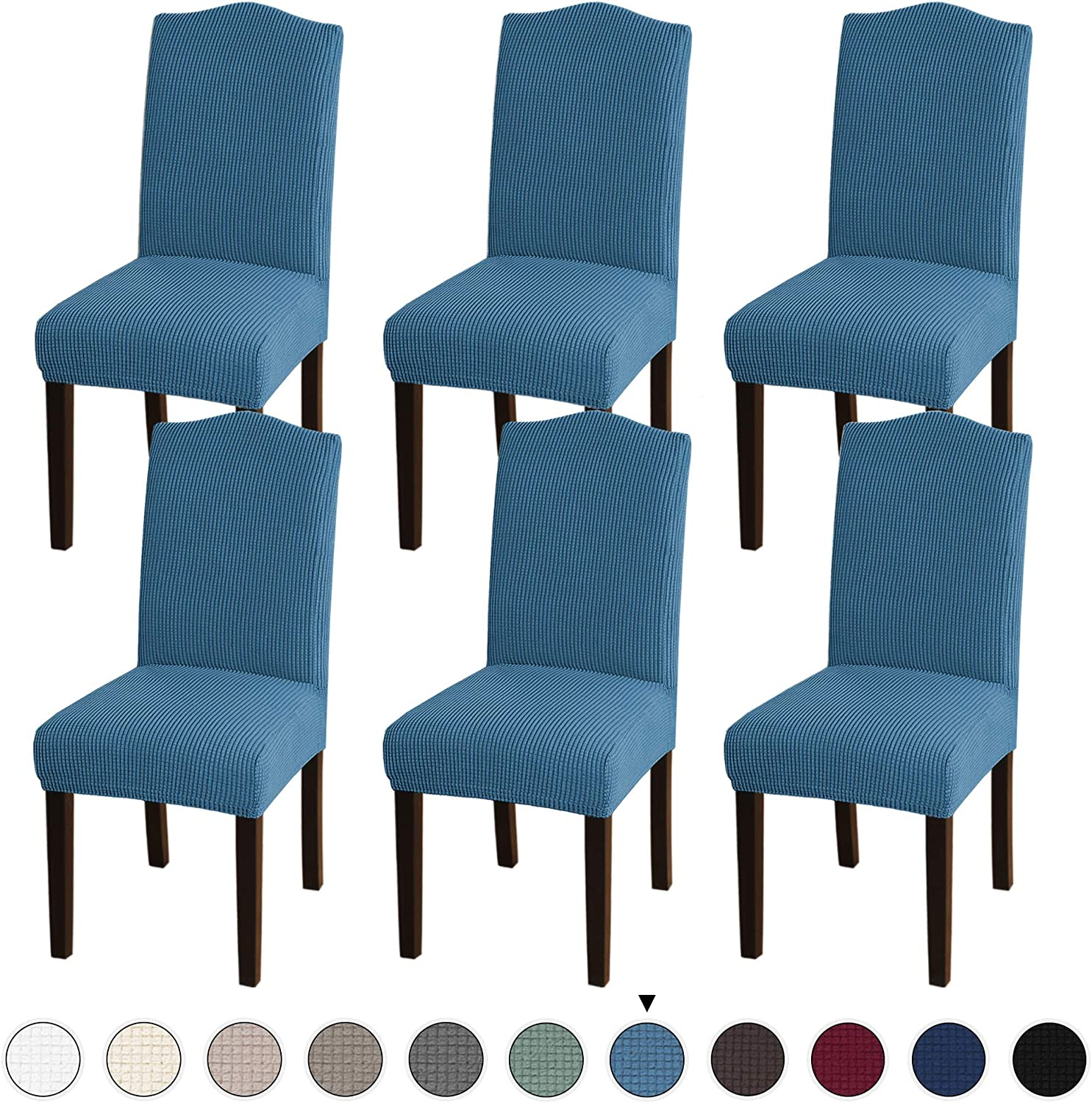 Stretch Dining Chair Slipcovers Jacquard Removable Washable High Dining Room Chair Protector Covers Sets Parson Chair Protector Cover Perfect for Dining Room Ceremony 4, Dusty Blue Hotel