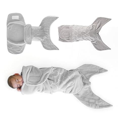 Regalo para Bebé Manta Envolvente Tipo Sirena Sabana Infantil Caliente Envolvente, Suave y Cómoda para