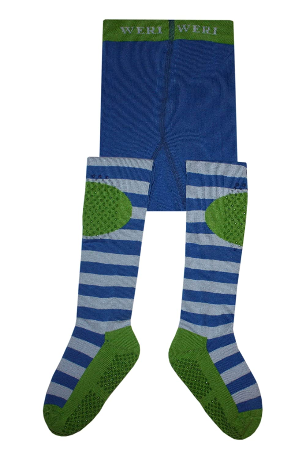 Weri Spezials Unisex-Baby Terry Sole ABS Rings Tights Blue+Kiwi