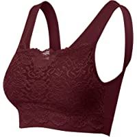 Women's Seamless Lace Bra Top with Front Lace Cover Sports Bra