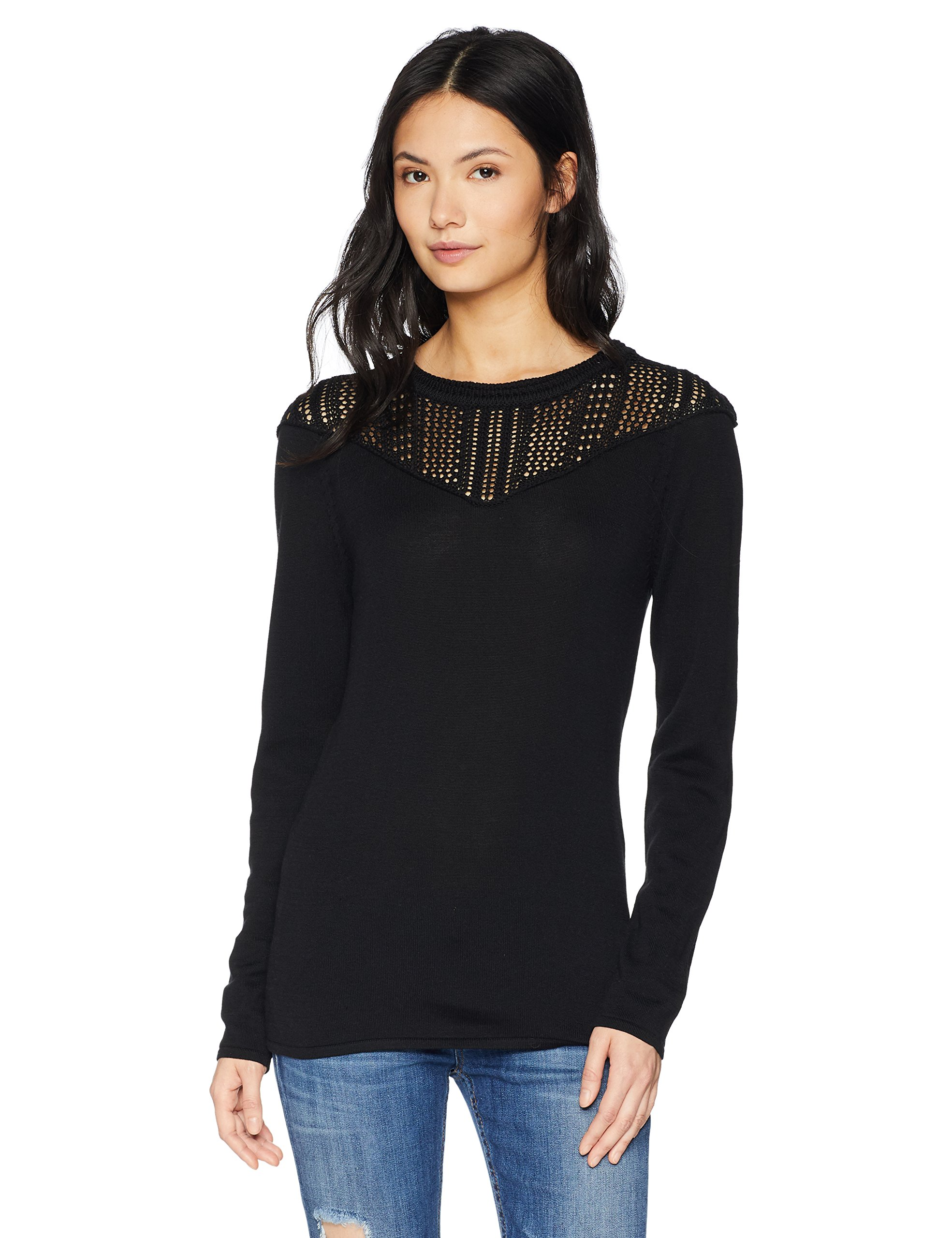 Cable Stitch Women's Pointelle Inset Sweater Black Large