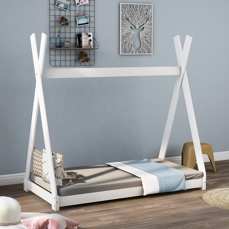 Bonita cama infantil india de madera maciza con somier para ...