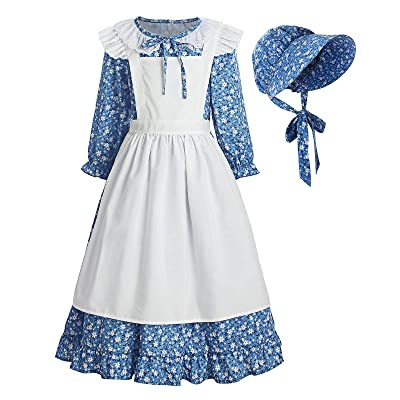 ReliBeauty Pioneer Girl Dress Colonial Prairie Costume Blue: Clothing