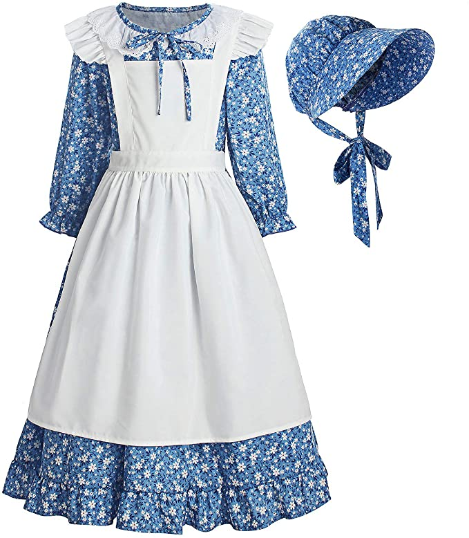Vintage Style Children's Clothing: Girls, Boys, Baby, Toddler ReliBeauty Pioneer Girl Dress Colonial Prairie Costume Blue  AT vintagedancer.com