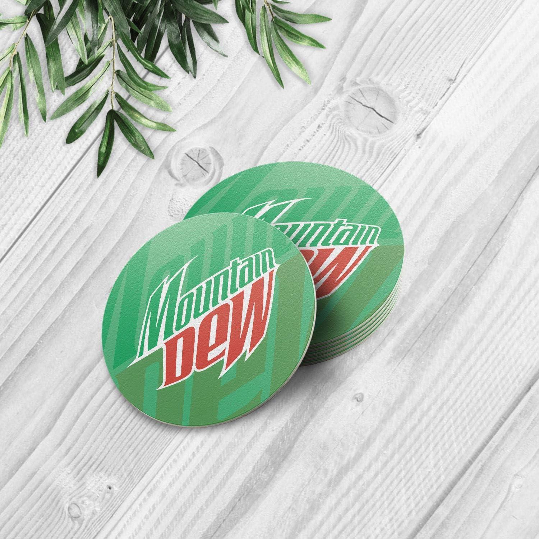 Mountain Dew American Soft Drink 4'' Round 1 Piece Beverage/Cocktail/Bar/Drink/Party/Wedding Coaster