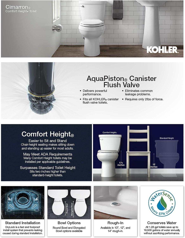 White Kohler 4369-0 Cimarron 1.28 GPF Toilet Tank with Aquapiston Flush Technology and Left-Hand Trip Lever