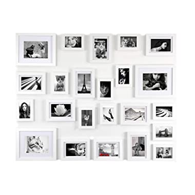 White Gallery Wall Photo Picture Frame Set- Solid Wood -23 Frames - Glass Window- with Picture Mats- mounting Acc. Included