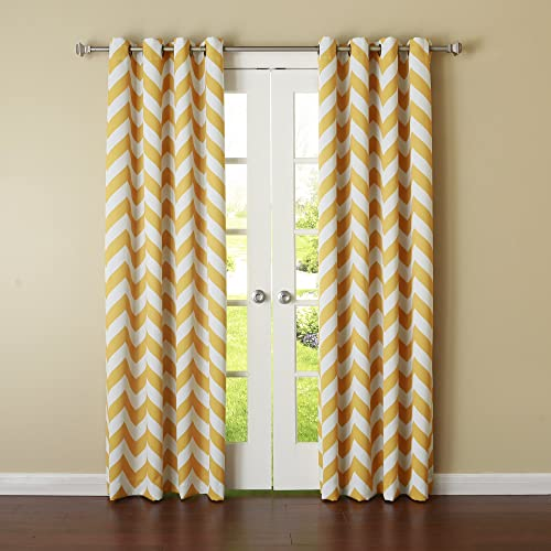 Best Home Fashion Closeout Room Darkening Morrocan Print Curtains Antique Bronze Grommet Top Yellow 52 W x 84 L 1 Panel