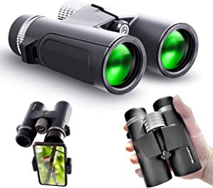 Waoops 10x42 Compact Binoculars for Adults High Power Waterproof Binoculars with Smartphone Adapter for Bird Watching Hunting Travel Stargazing Concerts Sports Wildlife Scenery Gifts for Kids
