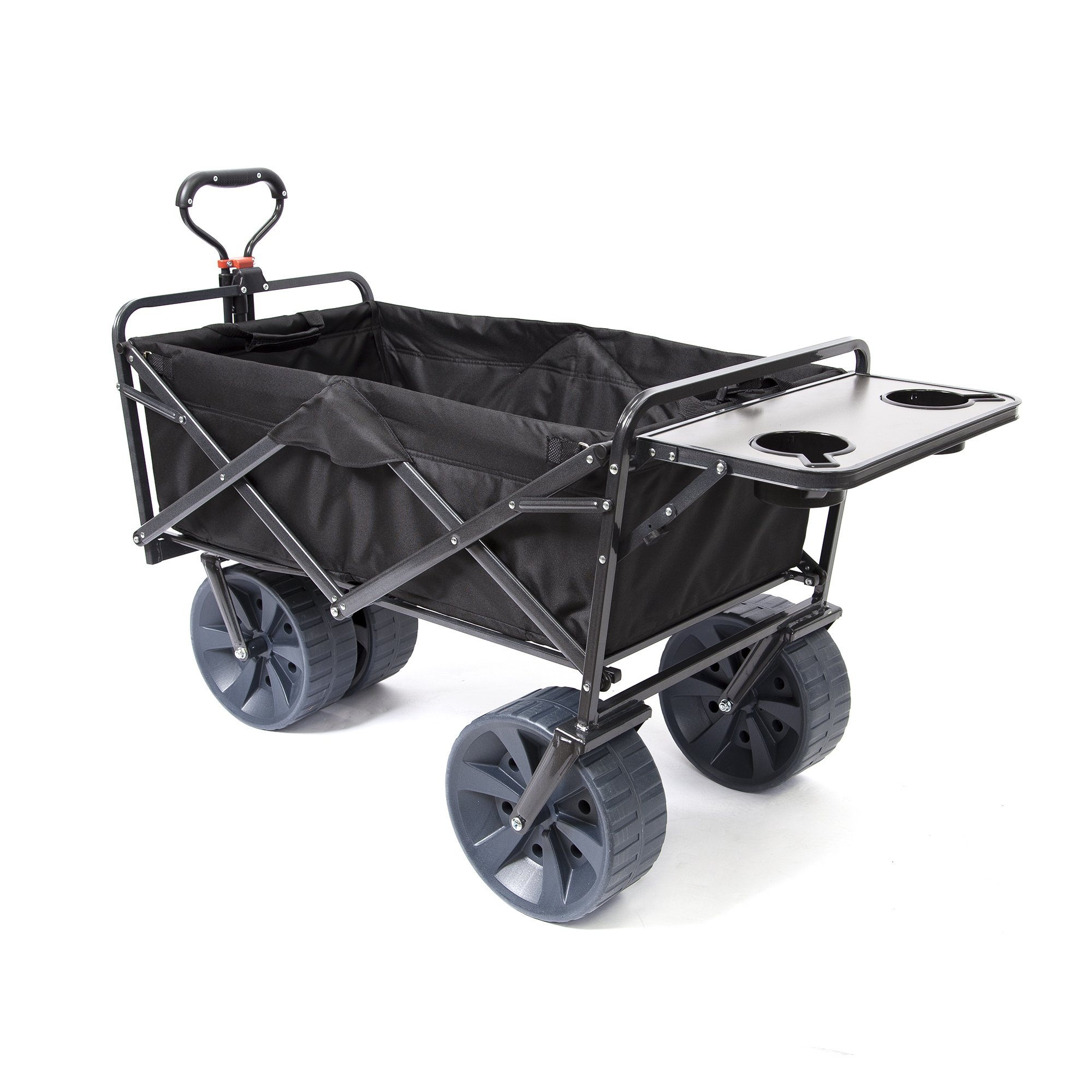 Mac Sports Heavy Duty Collapsible Folding All Terrain Utility Wagon Beach Cart (Black with Table) by Mac Sports