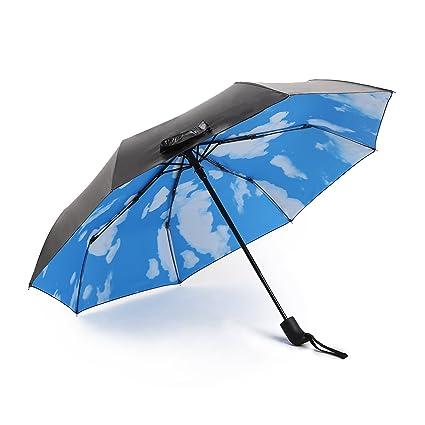 Viajes automática paraguas plegable compacto plegable Sombrilla Auto Abrir Cerrar Hombres y Damas, Exterior Interior De Cielo Azul Negro