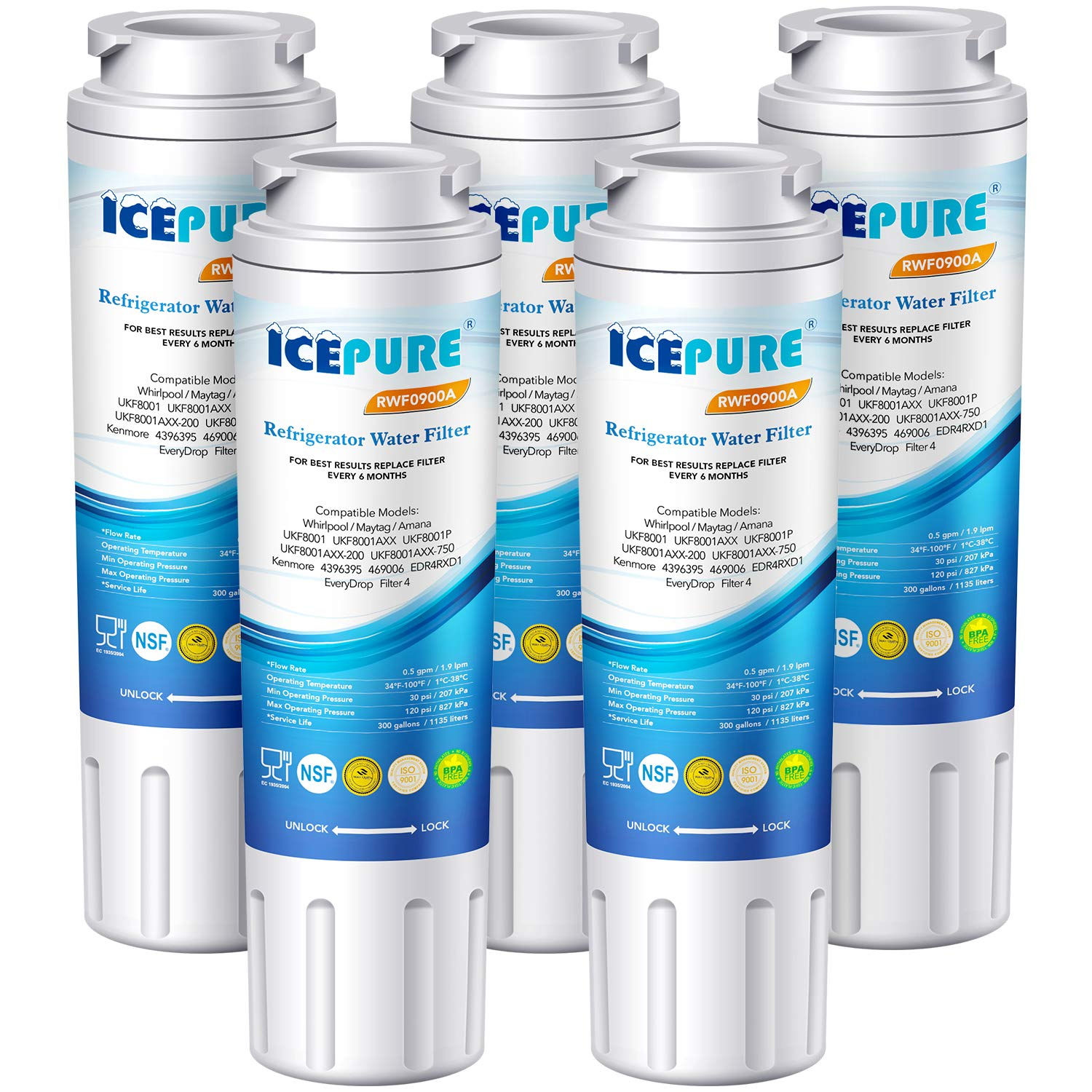 Icepure Refrigerator Water Filter, Replacement for Maytag UKF8001, PUR, Jenn-Air, Filter 4, 4396395, UKF8001AXX, UKF8001AXX-200, UKF8001AXX-750, 469006, RWF0900A 5 PACK
