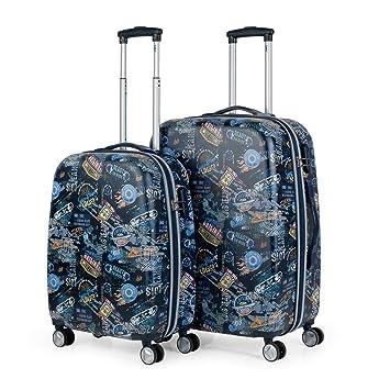 Lois - Juego Maletas de Viaje Infantil Juevenil Trolley 55/70 cm ABS Print Estampado