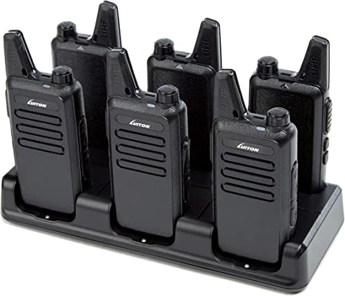 LUITON Mini Walkie Talkies Rechargeable UHF Channel with Micro USB Charging LT-316 Uhf 6 Pack with Six Way Gang Charger
