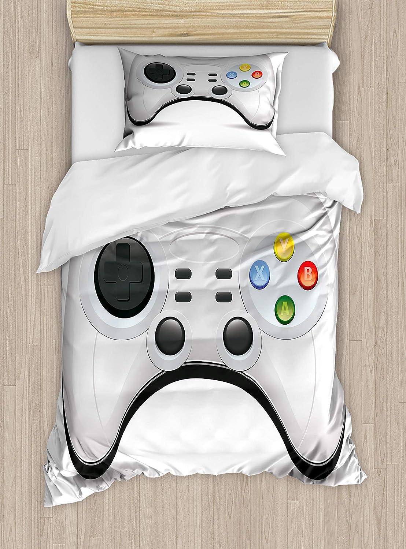Charcoal Grey Pale Grey Lunarable Gamer Duvet Cover Set Twin Size Decorative 2 Piece Bedding Set 1 Pillow Sham Modern Gamepad Colorful Action Buttons Joysticks D-Pad