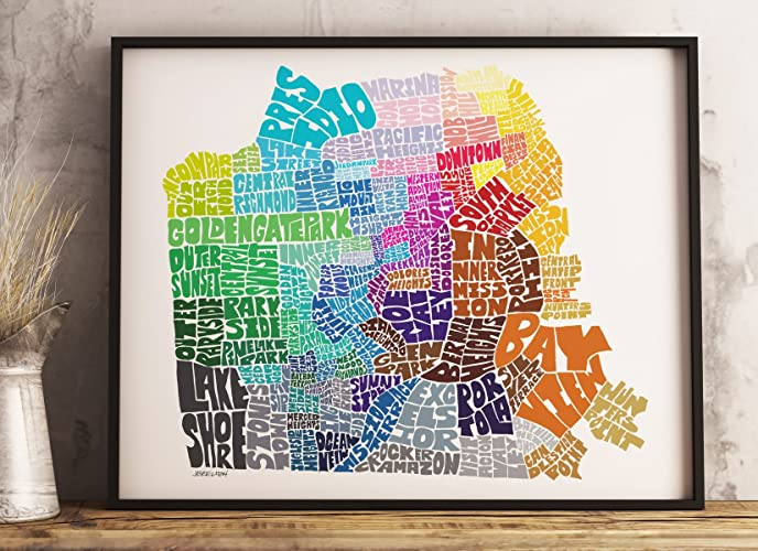Amazoncom SAN FRANCISCO Map Art Print Framed Options Available