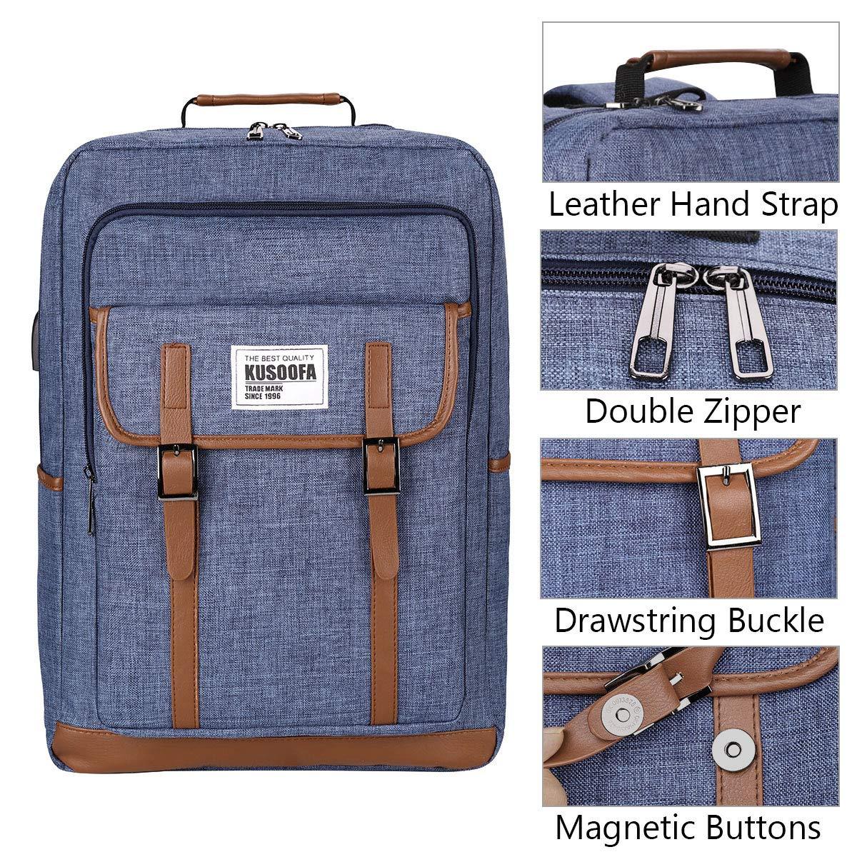 9fb685565d KUSOOFA Zaino Uomo, Zaino Laptop PC 17.3 Pollici con Porta USB e Cuffie Jack,  Business Zaino per Uomo Donna 35L (Blu): Amazon.it: Valigeria