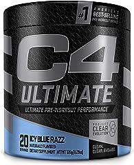 C4 Ultimate Pre Workout Powder ICY Blue Razz - Sugar Free Preworkout Energy Supplement for Men & Women - 300mg Caffeine + 3.2