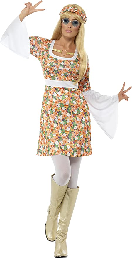 Hippie Dress | Long, Boho, Vintage, 70s Smiffys Womens Flower Power Costume Dress and Headband Size: S Color: Multi 23706 £22.99 AT vintagedancer.com