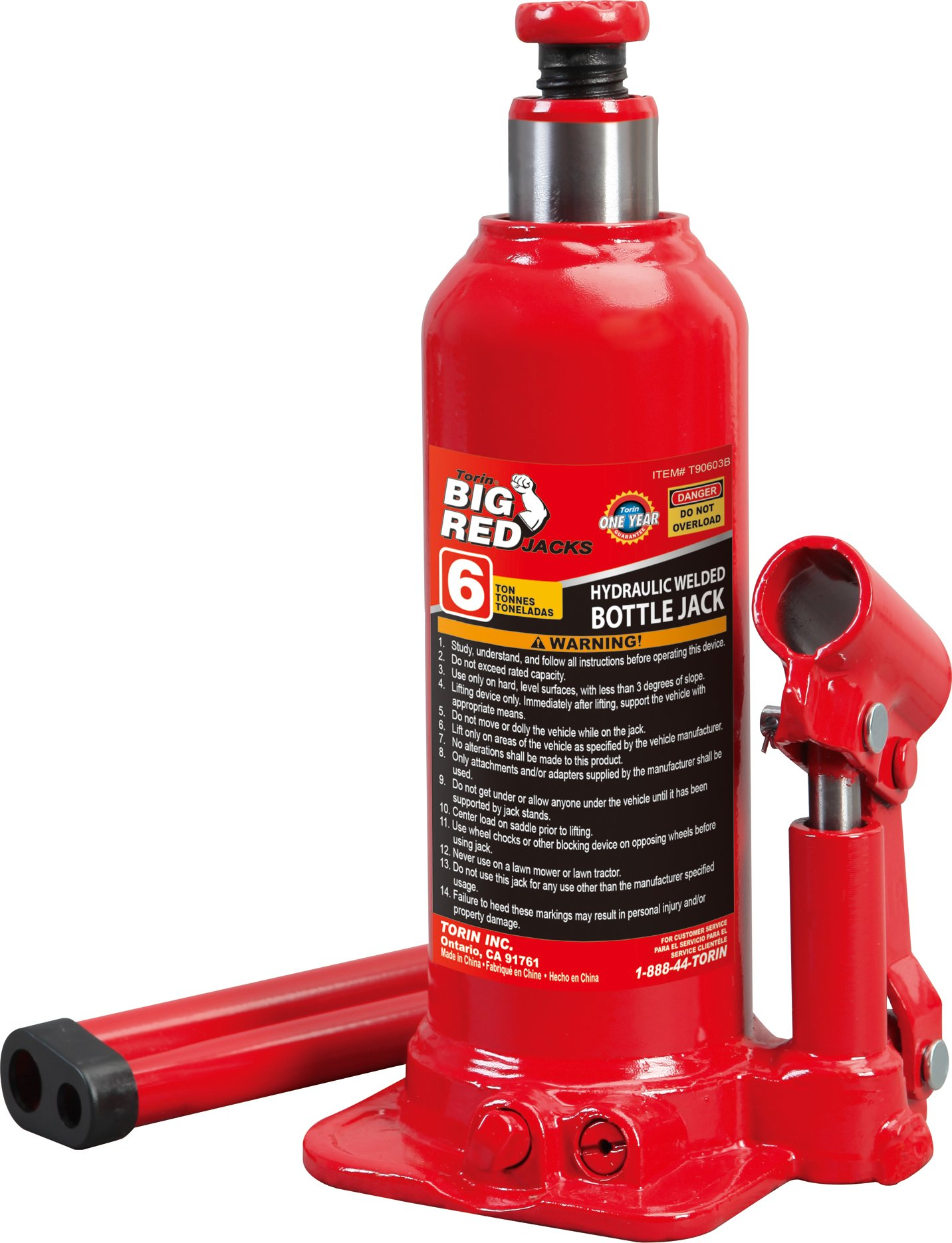 Torin Big Red Hydraulic Bottle Jack, 6 Ton Capacity by Torin