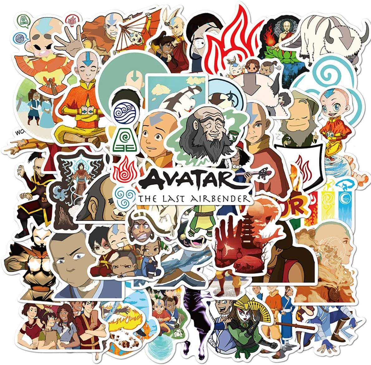 Avatar The Last Airbender Stickers Cartoon Laptop Stickers Vinyl Sticker Computer Car Skateboard Motorcycle Bicycle Luggage Guitar Bike Decal 50pcs Pack (Avatar The Last Airbende)