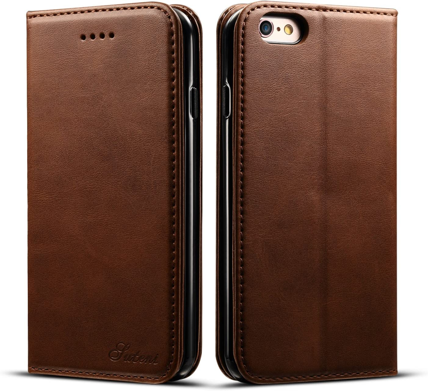 iPhone 6 Case Wallet, iPhone 6s Case Wallet, DINGXIN Premium PU Leather Flip Folio Book Case Cover with Card Holder Magnetic Stand for iPhone 6 / 6s (Brown, iPhone6/6s, 4.7inch)