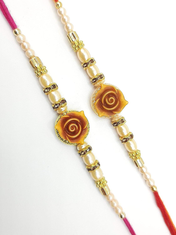 Sister Rakhi for Brother Beautiful Bracelet Rose Design with Golden Beads- Multicolor Raksha Bandhan Rakhi Gift Bracelet Wrist Bands for loving Sibling// Brother Set of 2 Friends /& Father