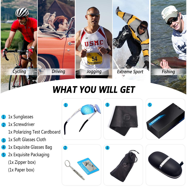 dcddc3d7f942 Product description. Feirdio Sports Polarized Sunglasses for Men Metal Frame  ...