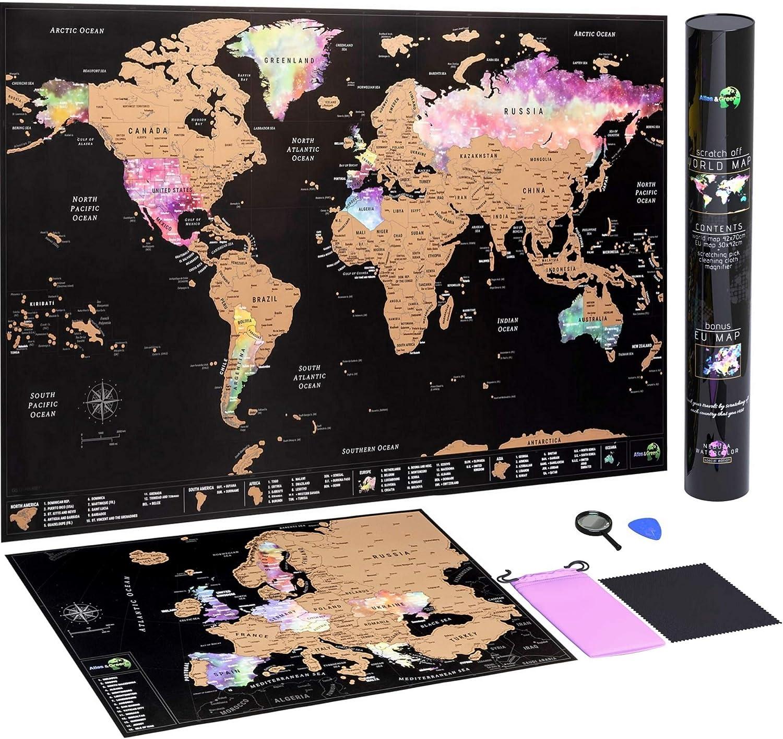 Mapa Mundi Rascar + Mapa Europa Rascar - con accesorios y tubo de regalo: Amazon.es: Amazon.es