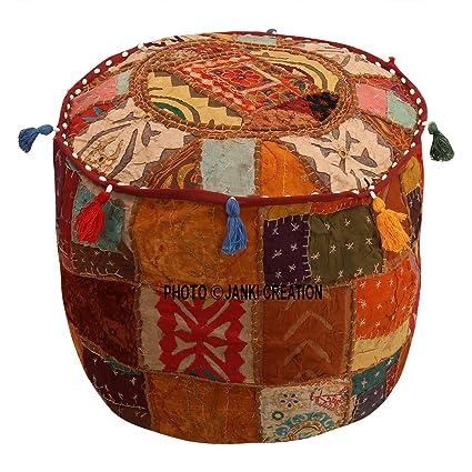 Cubierta otomana marrón algodón floral tradicional muebles ...