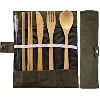 Bamboo Travel Utensils Bamboo Cutlery Set Camping Cutlery with Knife, Fork, Spoon, Chopsticks, Bamboo Straw, Suction Brush and Travel Pouch